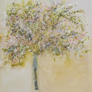 Ochre Walls and Pink Blossom 100x100cm